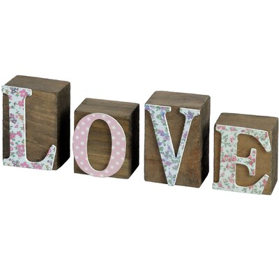Hill Interiors Floral Love Word Block Typography Plaque