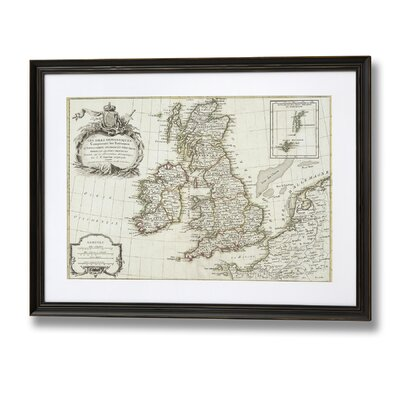 Hill Interiors Old Map of Britain and Ireland Framed Graphic Art