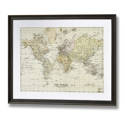 Hill Interiors Mercators Map of The World Framed Graphic Art