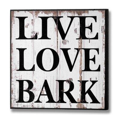 Hill Interiors Live Love Bark Typography Plaque