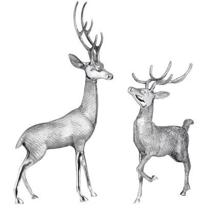 Hill Interiors 2 Piece Metal Deer Stag Figurine Set
