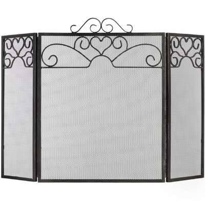 Hill Interiors Heart Motif Steel Fire Screen