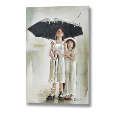 Hill Interiors Children Under an Umbrella Original Painting Wrapped on Canvas