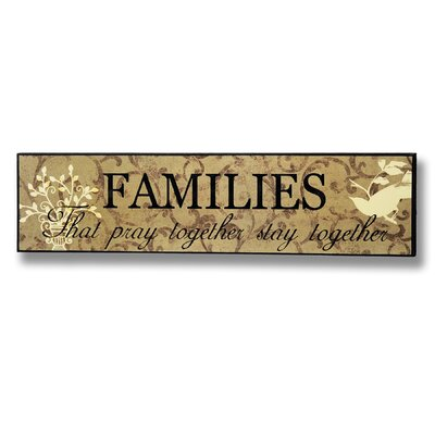 Hill Interiors Families That Pray Together Typography Plaque