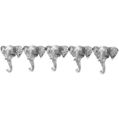 Hill Interiors Five Elephant Heads Wall Mounted Coat Rack