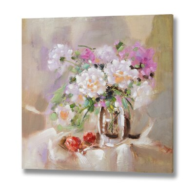 Hill Interiors Flowers in Glass Vase Original Painting on Canvas