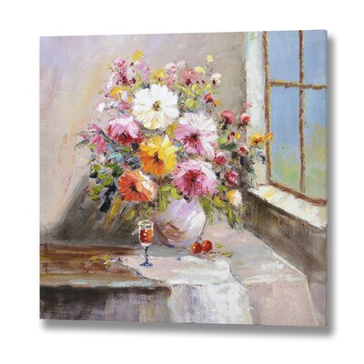 Hill Interiors Flowers in Vase Original Painting on Canvas