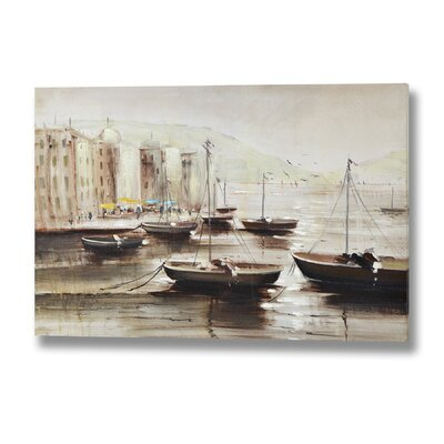 Hill Interiors Moored Boats at Dusk Original Painting Wrapped on Canvas