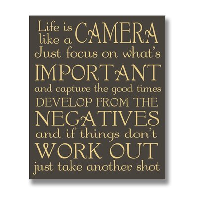 Hill Interiors Life is Like a Camera Typography Plaque