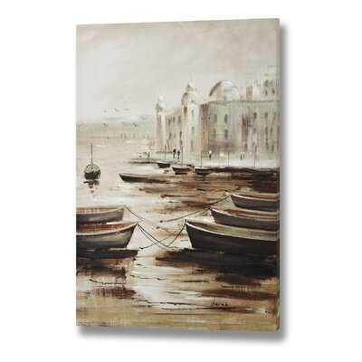 Hill Interiors Moored Boats at Dusk Portrait Original Painting Wrapped on Canvas