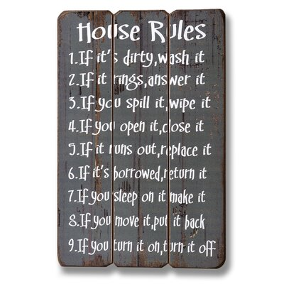 Hill Interiors House Rules Typography Plaque