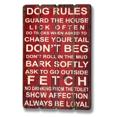 Hill Interiors Dog Rules Typography Plaque