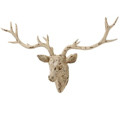Hill Interiors Distressed Cream Stag's Bust Wall Décor