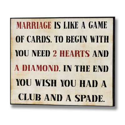 Hill Interiors Marriage is Like a Game Of Cards Typography Plaque
