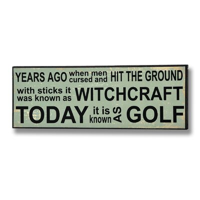 Hill Interiors Witchcraft and Golf Typography Plaque