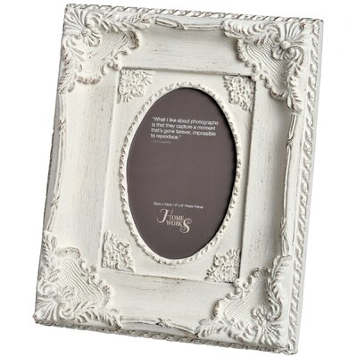 Hill Interiors Ornate Antique White Oval Photo Frame