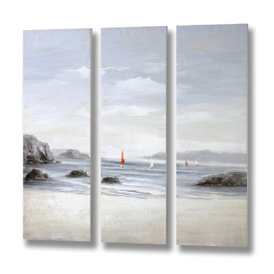 Hill Interiors Beachfront 3 Piece Art Print on Canvas Set