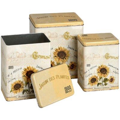 Hill Interiors Sunflower 3-Piece Storage Tin Set