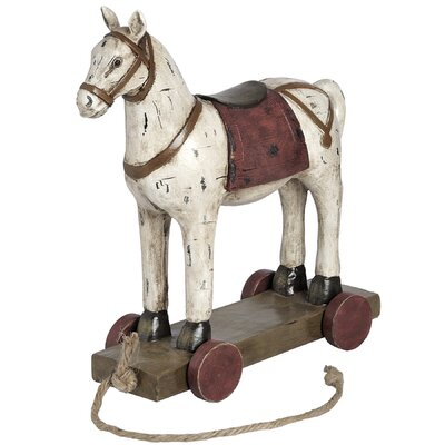 Hill Interiors Polyresin Woodcut Horse with Wheels Figurine