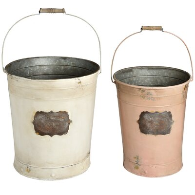 Hill Interiors 2 Piece Vintage Tin Bucket Set