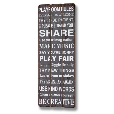 Hill Interiors Playroom Rules Typography Plaque