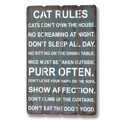 Hill Interiors Cat Rules Typography Plaque