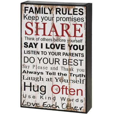 Hill Interiors Family Rules Shelf Sitter Typography Plaque