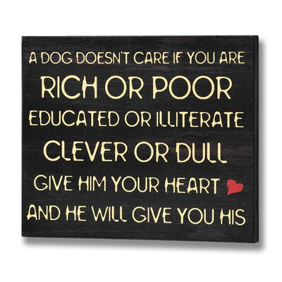 Hill Interiors A Dog Doesn't Care Typography Plaque