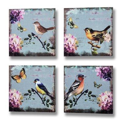 Hill Interiors Birds and Butterflies 4 Piece Art Print on Canvas Set