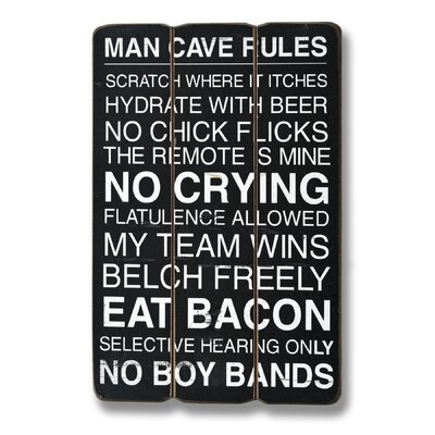 Hill Interiors Man Cave Rules Plank Style Typography Plaque