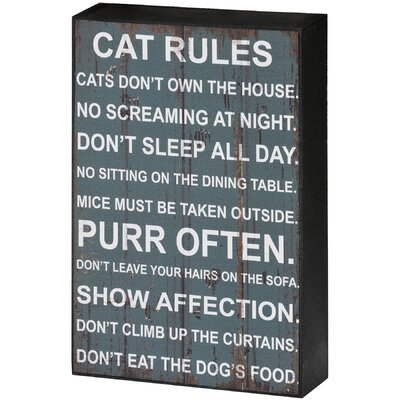 Hill Interiors Cat Rules Shelf Typography Plaque