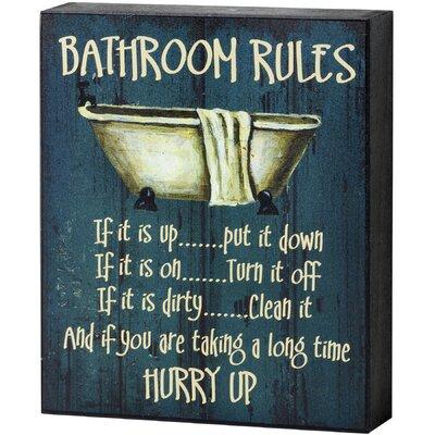 Hill Interiors Bathroom Rules Shelf Typography Plaque