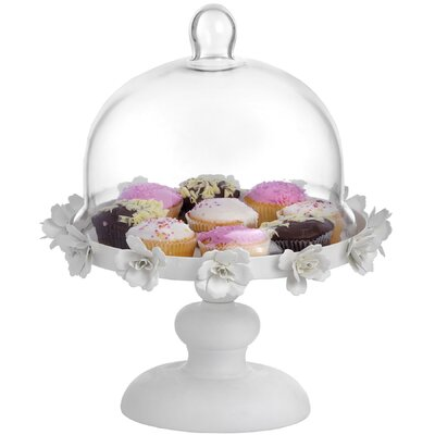 Hill Interiors 34cm Floral Cake Stand with Glass Cloche