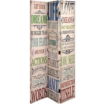 Hill Interiors 180cm x 160cm Dream Life Love Canvas 3 Panel Room Divider