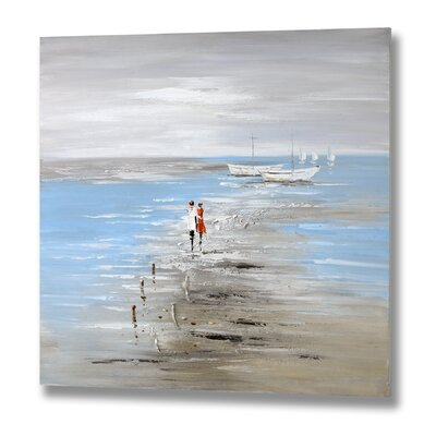 Hill Interiors Couple Walking at Low Tide Art Print on Canvas