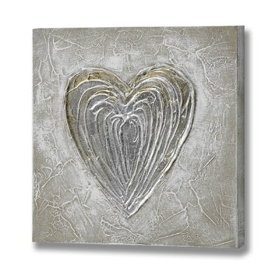 Hill Interiors Textured Heart Graphic Art on Canvas