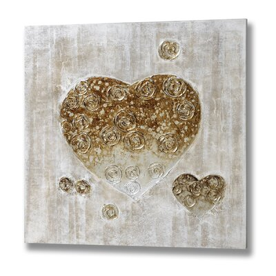 Hill Interiors Textured Heart with Roses Graphic Art on Canvas
