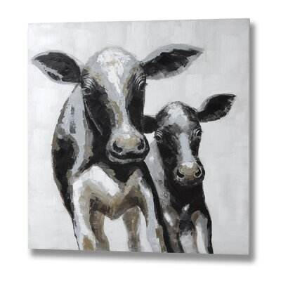Hill Interiors Cow and Calf  Art Print on Canvas