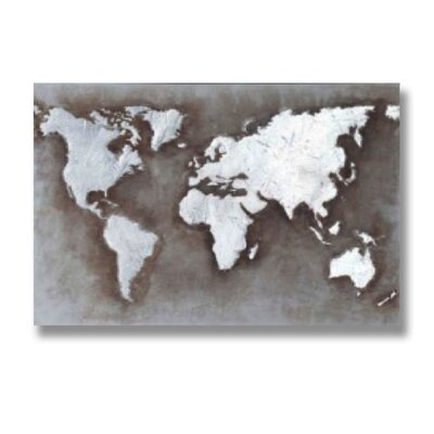 Hill Interiors Embossed World Map Graphic Art on Canvas