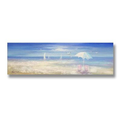 Hill Interiors Deckchairs and Parasol Art Print on Canvas