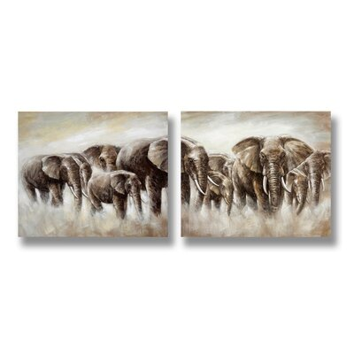 Hill Interiors Herd of Elephants 2 Piece Art Print on Canvas Set