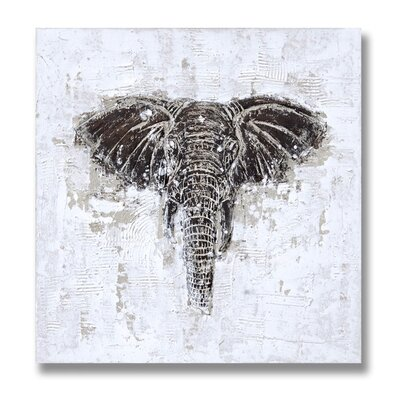 Hill Interiors Embossed Elephant Art Print on Canvas
