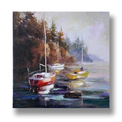 Hill Interiors Moored Boats Original Painting on Canvas