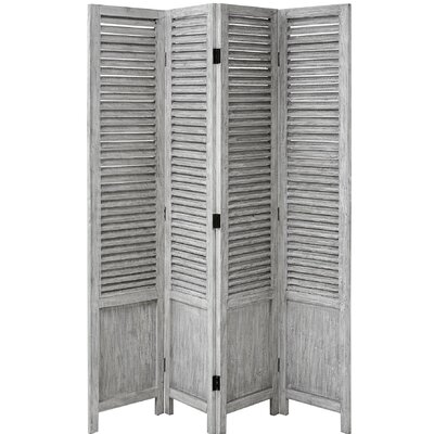Hill Interiors 180cm x 161cm Wooden Louvred 4 Panel Room Divider