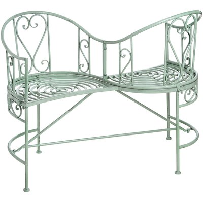 Hill Interiors Duck Egg Blue Iron Garden Love Seat