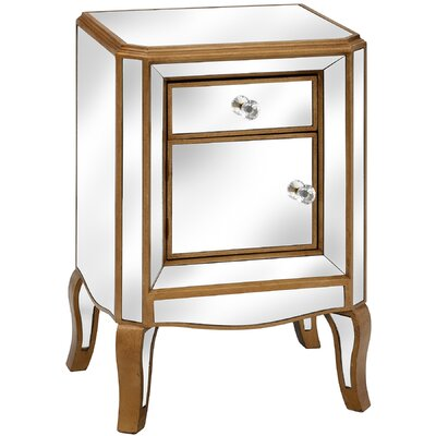 Hill Interiors Venetian Mirrored 1 Drawer Bedside Table