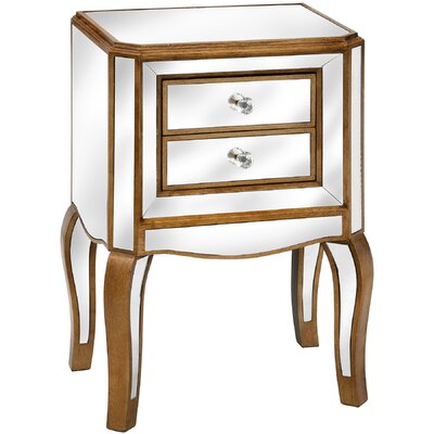 Hill Interiors Venetian Mirrored 2 Drawer Bedside Table