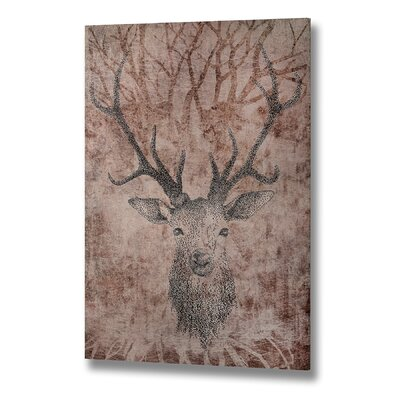 Hill Interiors Stag Head Original Painting Wrapped on Canvas