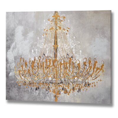 Hill Interiors Golden Chandelier Art Print Unwrapped on Canvas