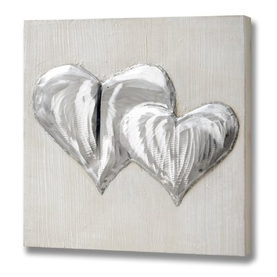Hill Interiors 2 Overlapping Hearts in Reflective Paint Graphic Art Unwrapped on Canvas